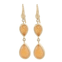 Rivka Friedman Gold Overlay Orange Quartzite Teardrop Earrings