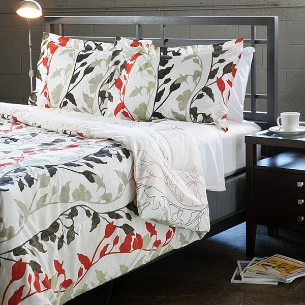 Grace red 3 piece full queen size duvet cover set free for Bedroom furniture 77584