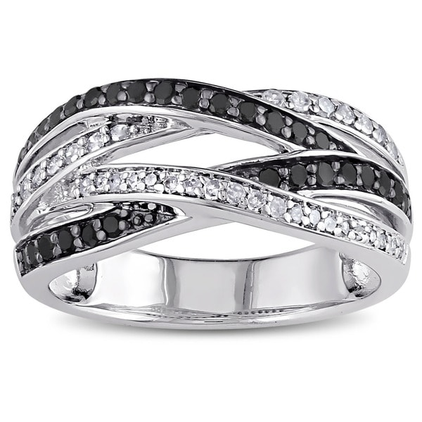 Miadora Sterling Silver 7/8ct TDW Black and White Diamond Ring