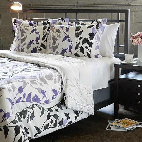 shop grace purple full queen size 3 piece duvet set free shipping on orders over 45. Black Bedroom Furniture Sets. Home Design Ideas