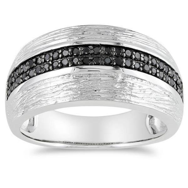 Miadora Sterling Silver 1/4ct TDW Black Diamond Ring