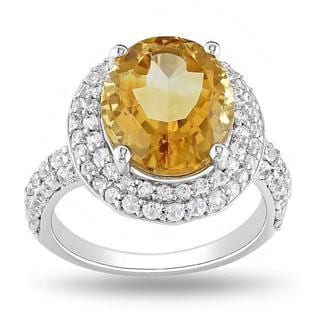 Miadora Sterling Silver Citrine and Created White Sapphire Ring