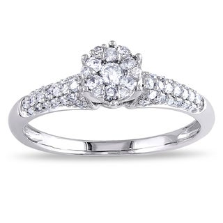 Miadora 14k White Gold 1/3ct TDW Diamond Cluster Stackable Engagement Ring