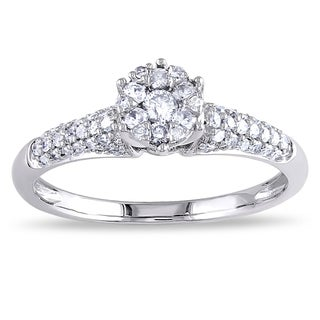 Miadora 14k White Gold 1/3ct TDW Diamond Cluster Stackable Engagement Ring (G-H, I1-I2)