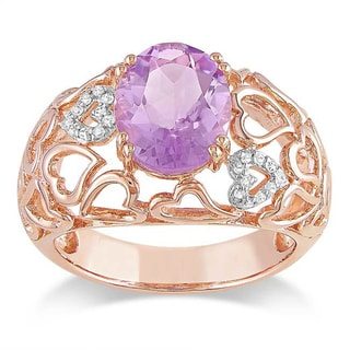 Miadora Pink Silver Rose de France and Diamond Accent Ring (G-H, I3)