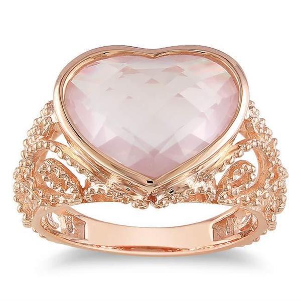 Miadora Pink Silver Heart-shaped Rose Quartz Cocktail Ring