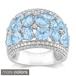 Miadora Sterling Silver Gemstone and Diamond Accent Ring