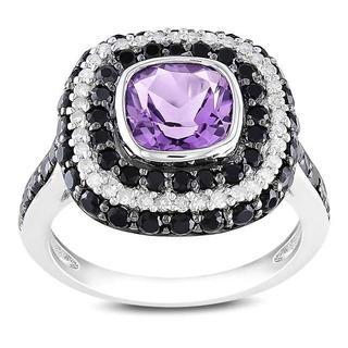 Miadora Silver Amethyst, Black Spinel and 1/5ct TDW Diamond Ring (G-H,I2-3)