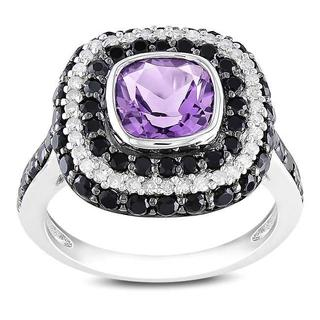 Miadora Silver Amethyst, Black Spinel and 1/5ct TDW Diamond Ring (G-H,I2-3)