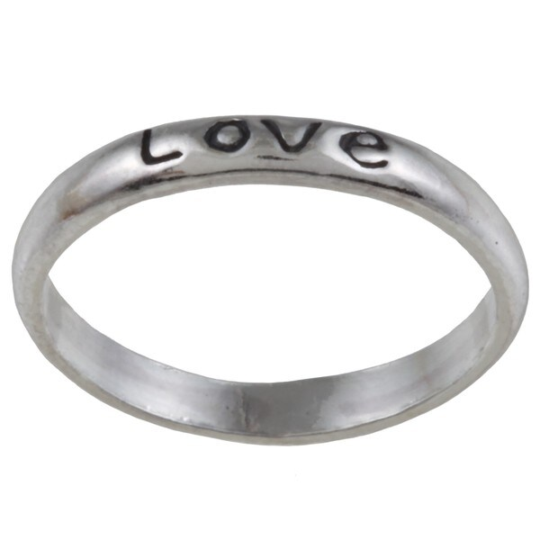 Silvermoon Sterling Silver 'Love' Band