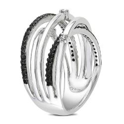 Miadora Sterling Silver 1/3ct TDW Black and White Wrap Style Diamond Ring - Thumbnail 1
