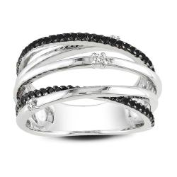 Miadora Sterling Silver 1/3ct TDW Black and White Wrap Style Diamond Ring