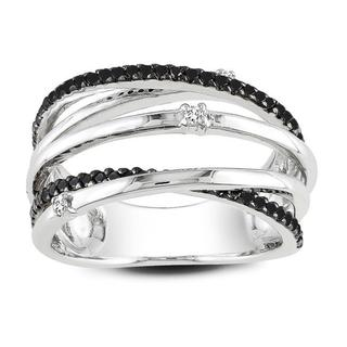 Miadora Sterling Silver 1/3ct TDW Black and White Wrap Style Diamond Ring