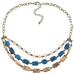 Alexa Starr Three-row Picture Jasper and Blue Jade Bib Necklace