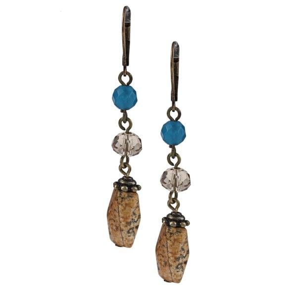 Alexa Starr Pictured Jasper and Blue Jade Earrings