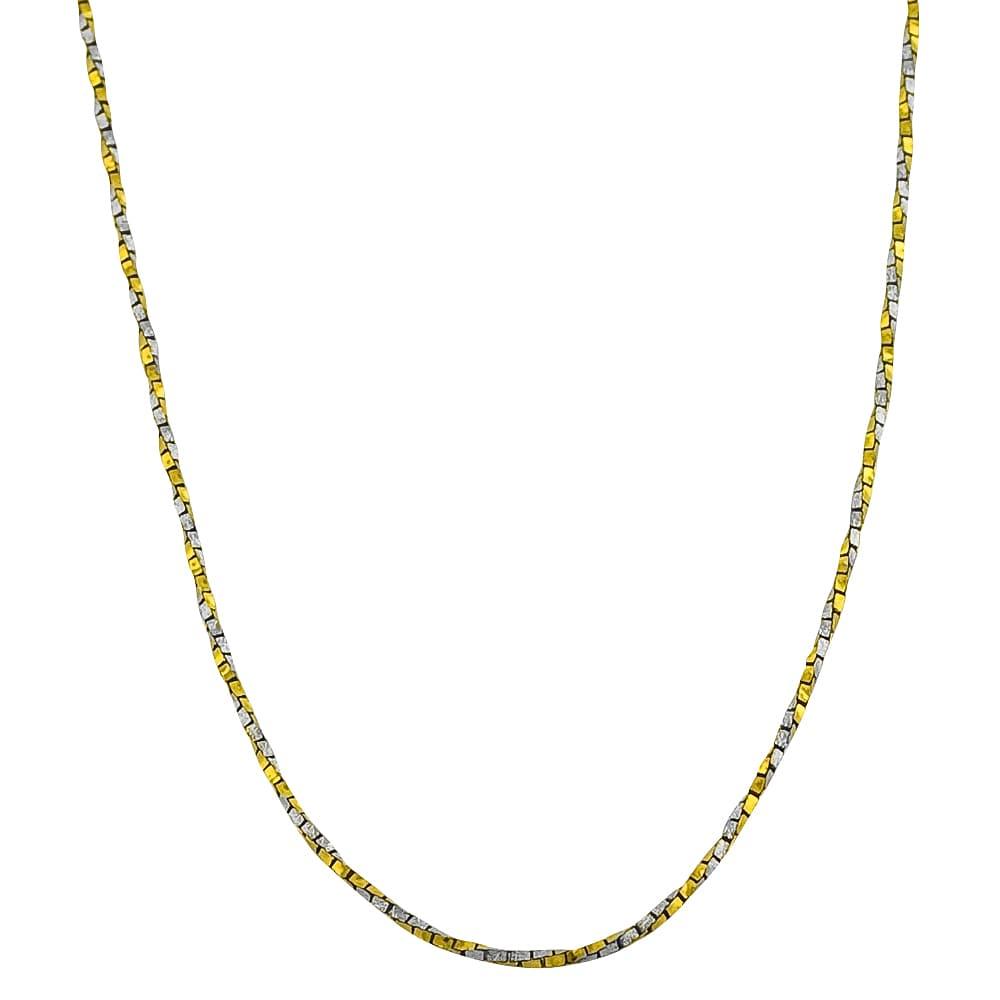 20 inch 14K Two Tone Gold Designer Twist Chain in 16 inch 18 inch