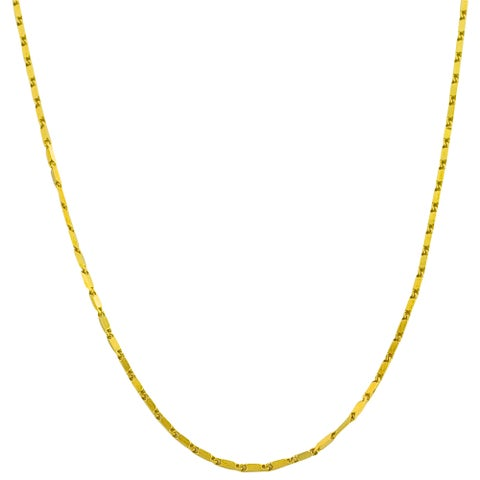 Fremada 14k Yellow Gold 16.5-inch Square Bar Link Necklace