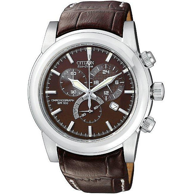 Citizen Men's Eco-Drive Brown Dial Leather Strap Chronograph Watch