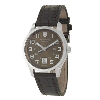 Victorinox Swiss Army Men's 'Alliance' Brown Dial Brown Leather Strap Watch