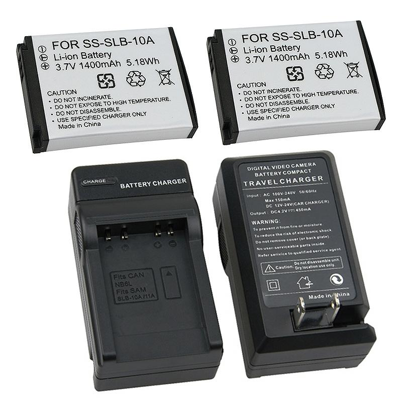 INSTEN 3-piece Battery/ Charger Set for Samsung SLB-10A/ SL502/ SL720/ SL820