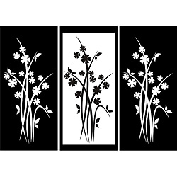 Design on Style Three-panel Flower Design Vinyl Art
