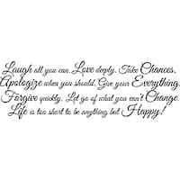 Design on Style 'Laugh All You Can. Love Deeply. Take Chances' Vinyl Art Quote
