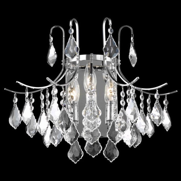 Somette Crystal Chrome 3-light 65013 Collection Wall Sconce