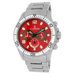 Le Chateau Men's Red Sport Dinamica All Steel Chronograph Watch