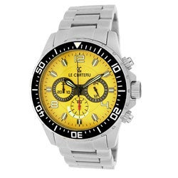 Le Chateau Men's Sport Dinamica All Steel Chronograph Watch with Yellow Dial