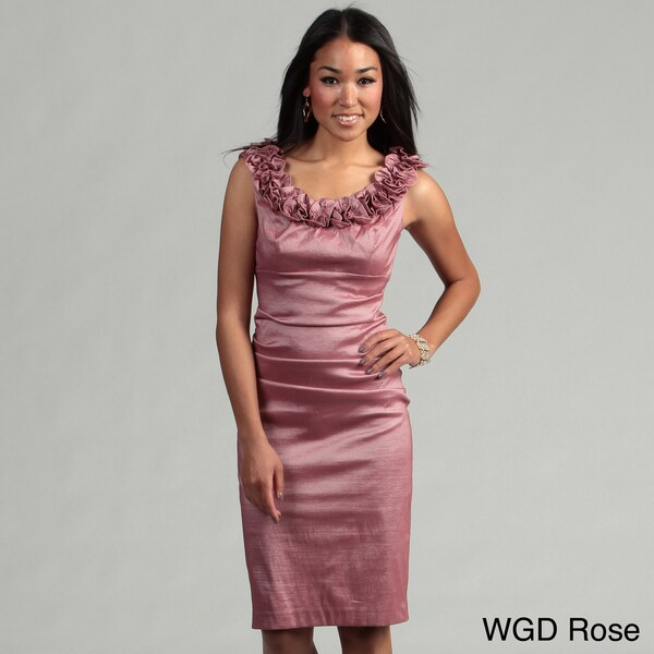 London Times Women's Ruffled Neck Dress