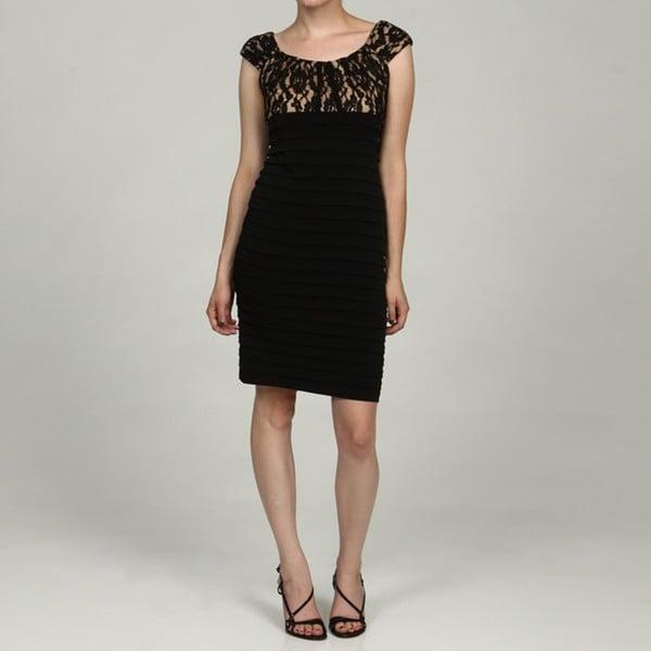 London Times Women's Black Lace Bodice Banded Cap-sleeve Dress