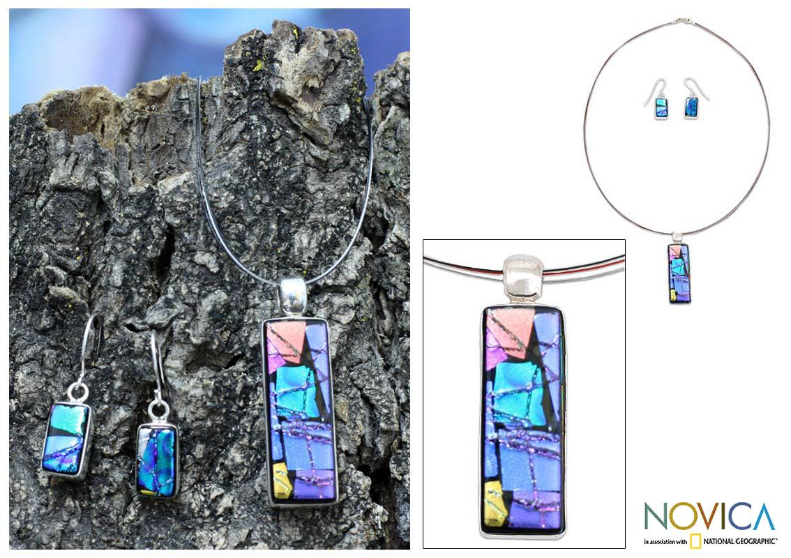 Handmade Sterling Silver 'Galaxy Window' Dichroic Glass Jewelry Set (Mexico)