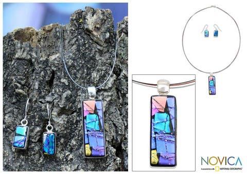 Handmade Sterling Silver 'Galaxy Window' Dichroic Glass Jewelry Set (Mexico)