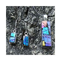 Sterling Silver 'Galaxy Window' Dichroic Glass Jewelry Set (Mexico)