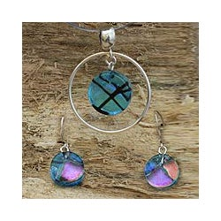 Handmade Sterling Silver 'Hypnotic Blues' Dichroic Glass Jewelry Set (Mexico)