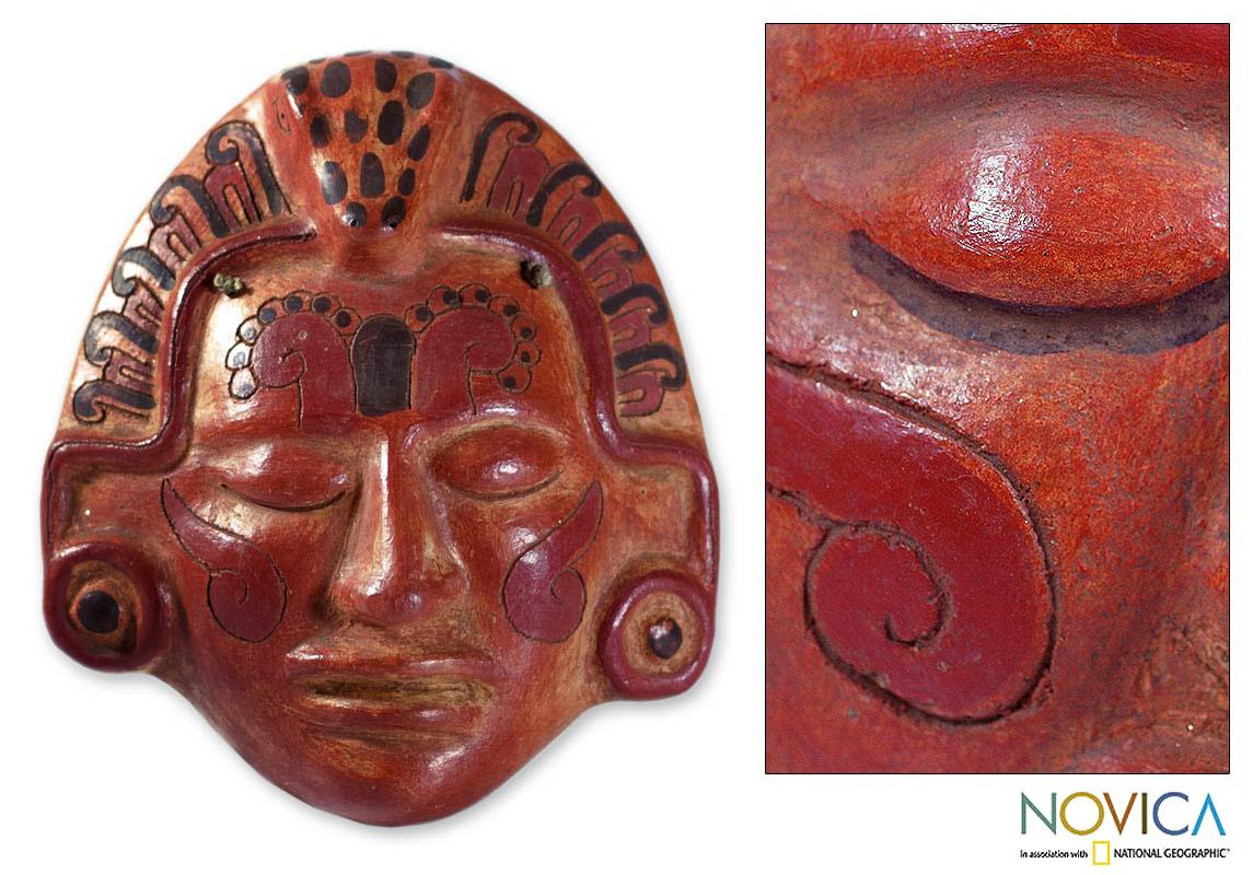 Handcrafted Ceramic 'Maya Crocodile Priest' Mask (El Salvador)