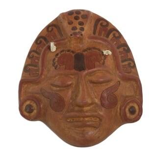 Handmade Ceramic 'Maya Crocodile Priest' Mask (El Salvador)