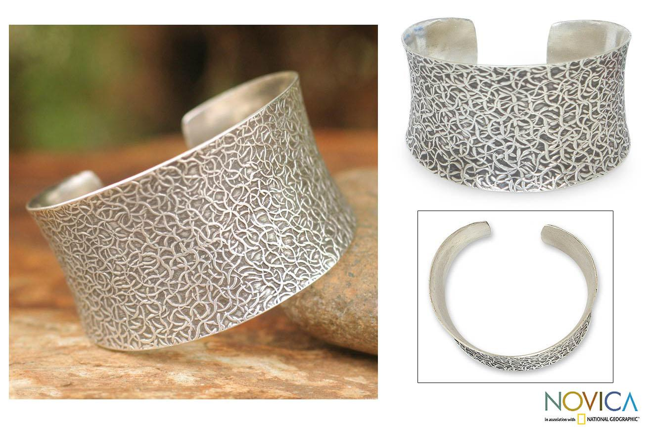 Handcrafted Sterling Silver 'Wild Nature' Cuff Bracelet (Thailand)