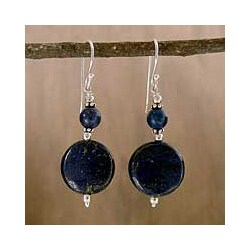 Handcrafted Sterling Silver 'Bihar Moon' Lapis Lazuli Earrings (India)