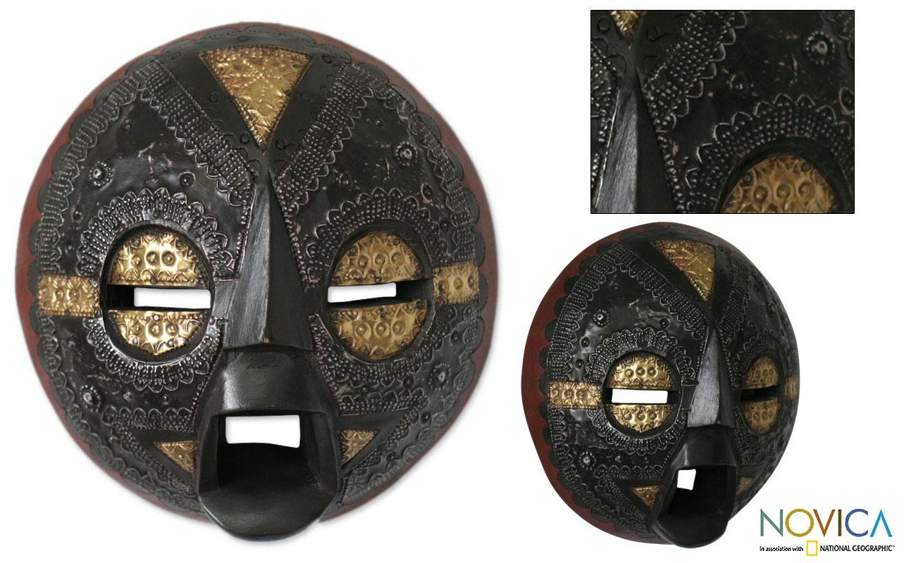 Handcrafted Sese Wood 'Speak Good Things' African Mask (Ghana)