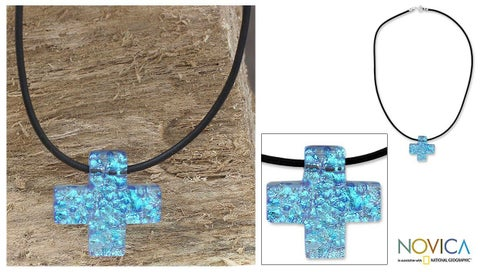 Handmade Sterling Silver 'Seafarer Cross' Dichroic Art Glass Necklace (Mexico)