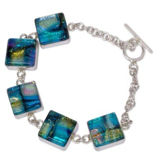 Handmade Dichroic Glass 'Urban Blues' Charm Bracelet (Mexico)