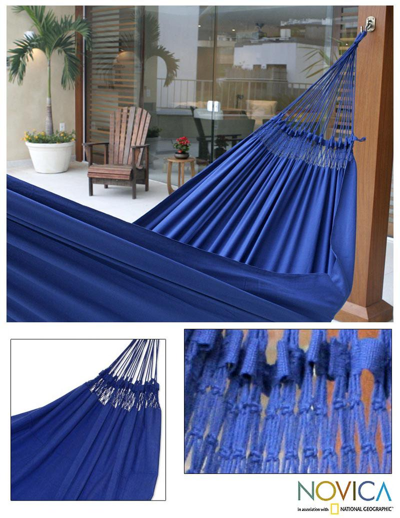 Cotton 'Ipanema Nocturnal' Hammock  , Handmade in Brazil - Thumbnail 0