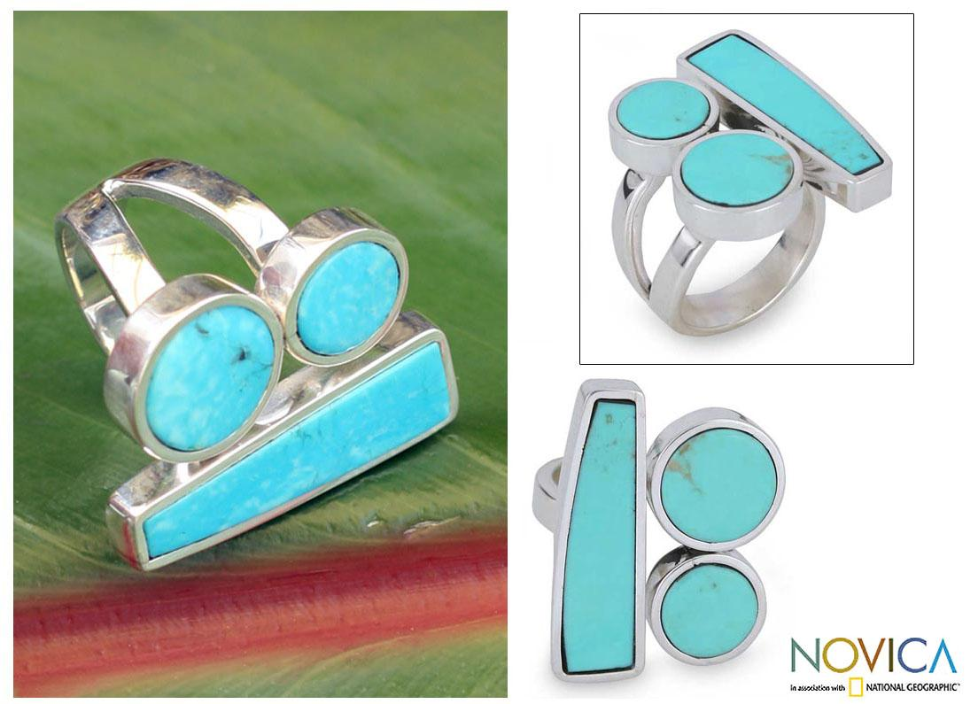 Handmade Sterling Silver 'Abstract Skies' Turquoise Ring (Mexico)