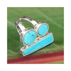 Sterling Silver 'Abstract Skies' Turquoise Ring (Mexico)