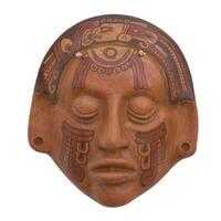 Handmade Ceramic 'Maya Glyphs' Mask (El Salvador)