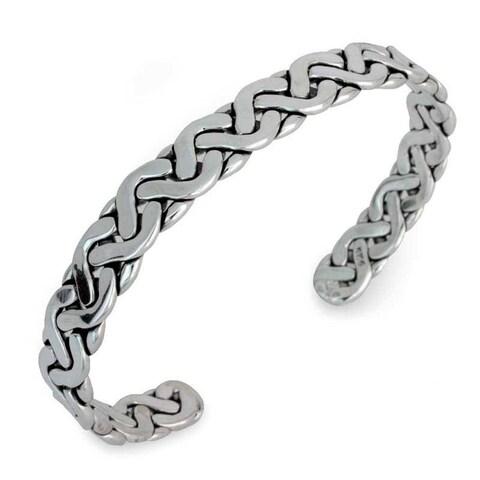Handmade Sterling Silver 'Aztec Warrior' Cuff Bracelet (Mexico)