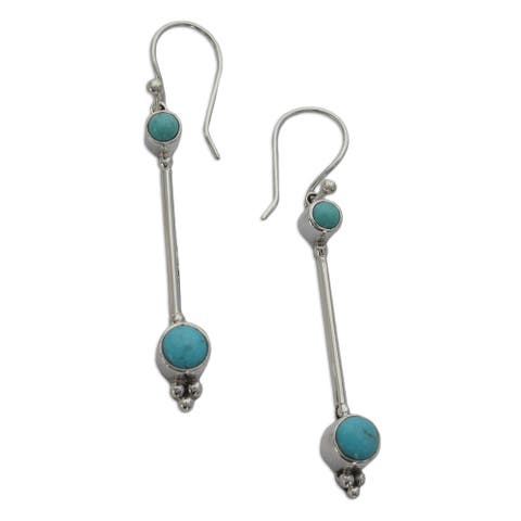 """Handmade Sterling Silver 'Friendship Sparkles' Turquoise Drop Earrings (Mexico) - 2.5"""" L x 0.3"""" W x 0.2"""" D"""