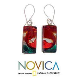 Sterling Silver 'Autumn Sunset' Art Glass Jewelry Set (Mexico) - Thumbnail 1