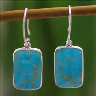 Sterling Silver 'Caribbean Mosaic' Turquoise Dangle Earrings (Mexico)